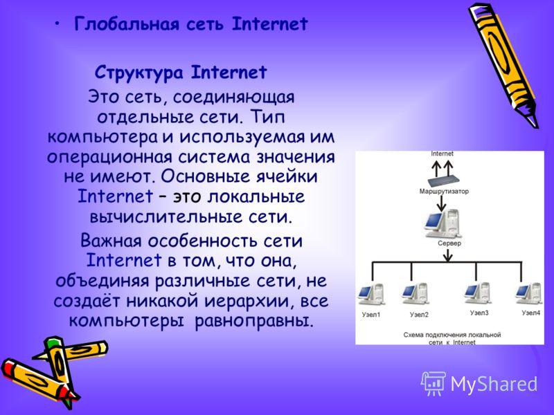 Глобальная сеть Internet Структура Internet Это сеть, соединяющая отдельные сети. Тип компьютера и используемая им операционная система значения не имеют. Основные ячейки Internet – это локальные вычислительные сети. Важная особенность сети Internet