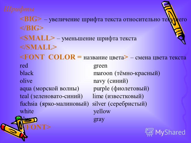 Шрифты – увеличение шрифта текста относительно текущего – уменьшение шрифта текста – смена цвета текста red green black maroon (тёмно-красный) olive navy (синий) aqua (морской волны) purple (фиолетовый) teal (зеленовато-синий) lime (известковый) fuch