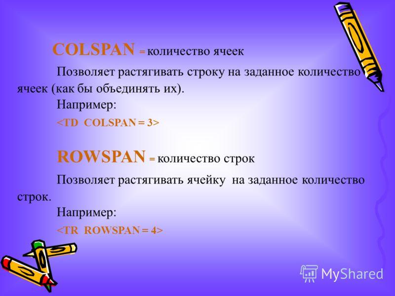 COLSPAN = количество ячеек Позволяет растягивать строку на заданное количество ячеек (как бы объединять их). Например: ROWSPAN = количество строк Позволяет растягивать ячейку на заданное количество строк. Например: