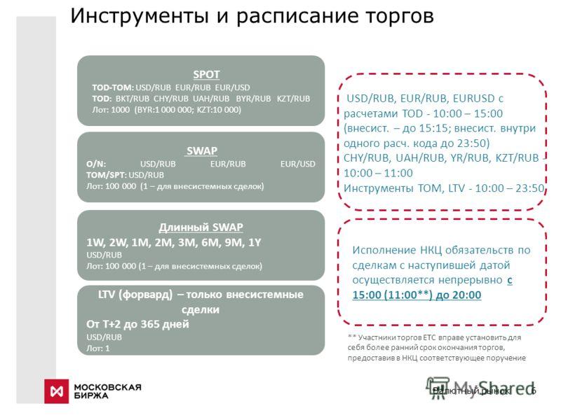 Валютный рынок6 Инструменты и расписание торгов SPOT TOD-TOM: USD/RUB EUR/RUB EUR/USD TOD: BKT/RUB CHY/RUB UAH/RUB BYR/RUB KZT/RUB Лот: 1000 (BYR:1 000 000; KZT:10 000) SWAP O/N: USD/RUB EUR/RUB EUR/USD TOM/SPT: USD/RUB Лот: 100 000 (1 – для внесисте