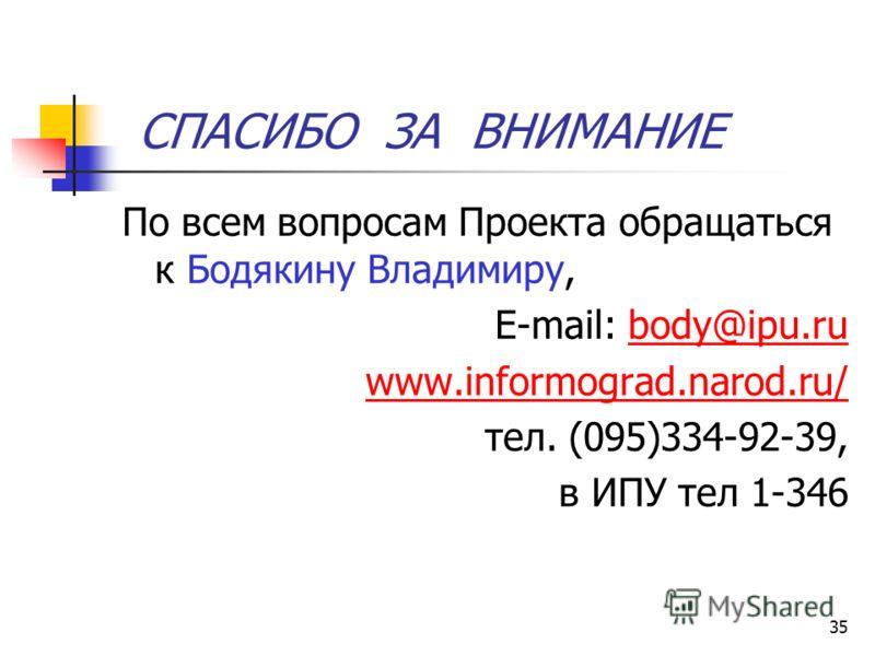 35 СПАСИБО ЗА ВНИМАНИЕ По всем вопросам Проекта обращаться к Бодякину Владимиру, E-mail: body@ipu.rubody@ipu.ru www.informograd.narod.ru/ тел. (095)334-92-39, в ИПУ тел 1-346
