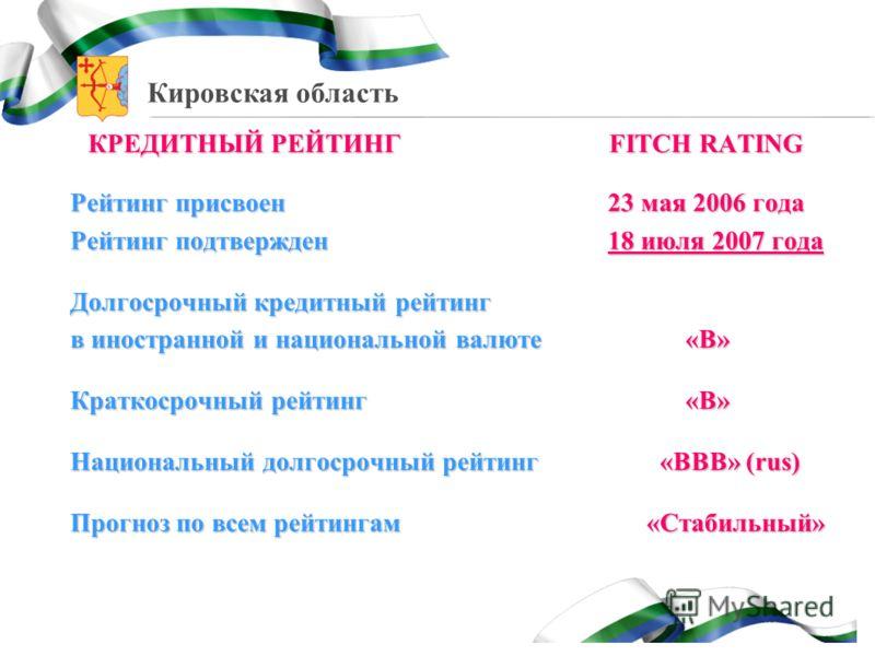 Кировская область КРЕДИТНЫЙ РЕЙТИНГ FITCH RATING Рейтинг присвоен23 мая 2006 года Рейтинг присвоен 23 мая 2006 года Рейтинг подтвержден 18 июля 2007 года Долгосрочный кредитный рейтинг в иностранной и национальной валюте«В» Краткосрочный рейтинг«В» Н