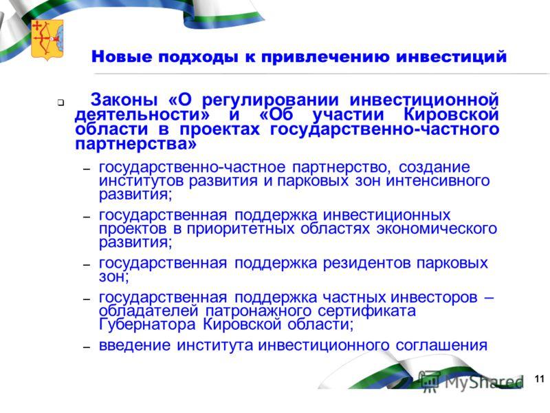 11 Новые подходы к привлечению инвестиций Законы «О регулировании инвестиционной деятельности» и «Об участии Кировской области в проектах государственно-частного партнерства» – государственно-частное партнерство, создание институтов развития и парков
