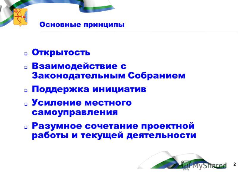 2 Основные принципы Открытость Взаимодействие с Законодательным Собранием Поддержка инициатив Усиление местного самоуправления Разумное сочетание проектной работы и текущей деятельности