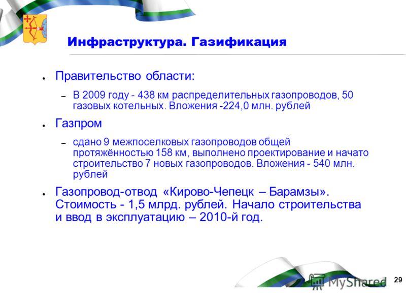 29 Инфраструктура. Газификация Правительство области: – В 2009 году - 438 км распределительных газопроводов, 50 газовых котельных. Вложения -224,0 млн. рублей Газпром – сдано 9 межпоселковых газопроводов общей протяжённостью 158 км, выполнено проекти