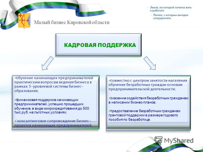 Малый бизнес Кировской области обучение начинающих предпринимателей практическим вопросам ведения бизнеса в рамках 3-уровневой системы бизнес- образования; финансовая поддержка начинающих предпринимателей, успешно прошедших обучение, в виде микрокред
