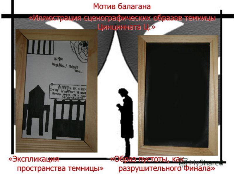 Мотив балагана «Иллюстрация сценографических образов темницы Цинцинната Ц.» «Образ пустоты, как разрушительного Финала» «Экспликация пространства темницы»