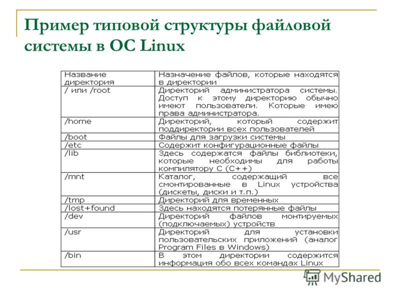 Пример типовой структуры файловой системы в ОС Linux