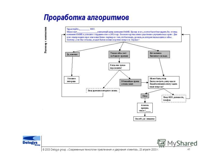 © 2003 Delogys group. «Современные технологии привлечения и удержания клиентов», 23 апреля 2003 г. 41 Проработка алгоритмов