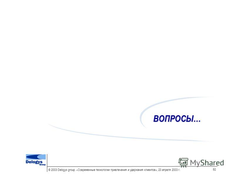 © 2003 Delogys group. «Современные технологии привлечения и удержания клиентов», 23 апреля 2003 г. 50 ВОПРОСЫ…