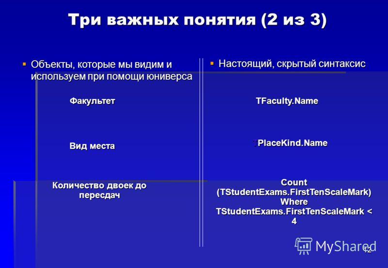 12 Объекты, которые мы видим и используем при помощи юниверса Объекты, которые мы видим и используем при помощи юниверса Три важных понятия (2 из 3) Настоящий, скрытый синтаксис Настоящий, скрытый синтаксис Факультет Вид места Количество двоек до пер