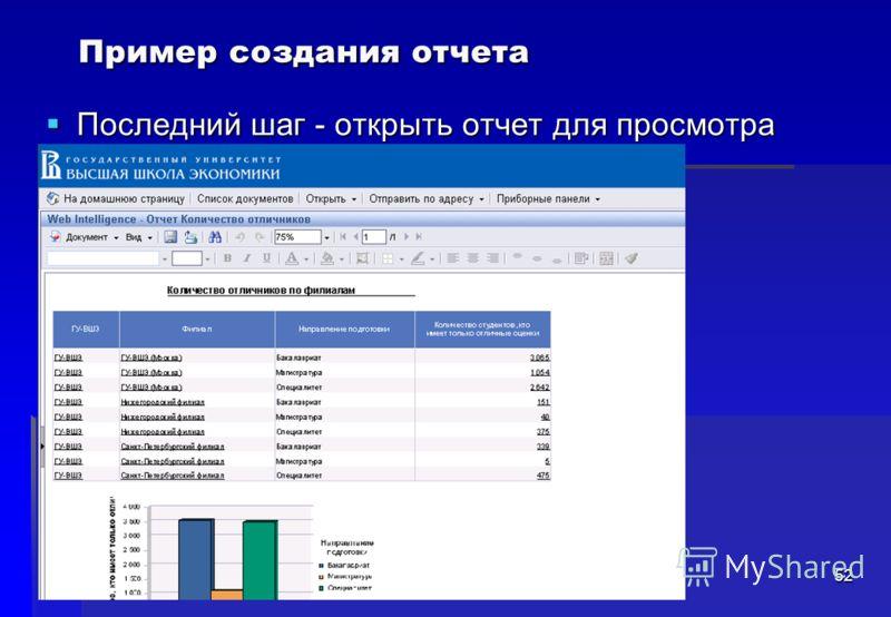 52 Последний шаг - открыть отчет для просмотра Последний шаг - открыть отчет для просмотра Пример создания отчета