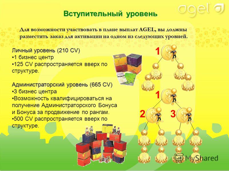 Для возможности участвовать в плане выплат AGEL, вы должны разместить заказ для активации на одном из следующих уровней. Личный уровень (210 CV) 1 бизнес центр 125 CV распространяется вверх по структуре. Администраторский уровень (665 CV) 3 бизнес це
