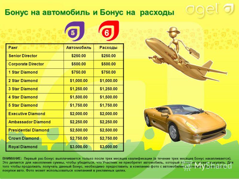 Бонус на автомобильи Бонус на расходы Бонус на автомобиль и Бонус на расходы ВНИМАНИЕ: Первый раз Бонус выплачивается только после трех месяцев квалификации (в течение трех месяцев Бонус накапливается). Это делается для накопления суммы, чтобы убедит