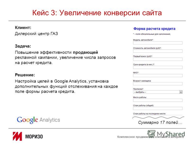 Комплексное продвижение компаний в интернете Кейс 3: Увеличение конверсии сайта Клиент: Дилерский центр ГАЗ Задача: Повышение эффективности продающей рекламной кампании, увеличение числа запросов на расчет кредита. Решение: Настройка целей в Google A