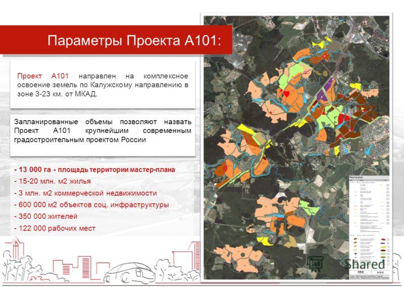 МОСКВА - 13 000 га - площадь территории мастер-плана - 15-20 млн. м2 жилья - 3 млн. м2 коммерческой недвижимости - 600 000 м2 объектов соц. инфраструктуры - 350 000 жителей - 122 000 рабочих мест Проект А101 направлен на комплексное освоение земель п