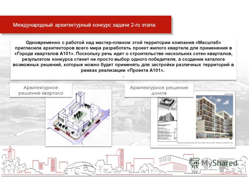 Одновременно с работой над мастер-планом этой территории компания «Масштаб» пригласила архитекторов всего мира разработать проект жилого квартала для применения в «Городе кварталов А101». Поскольку речь идет о строительстве нескольких сотен кварталов