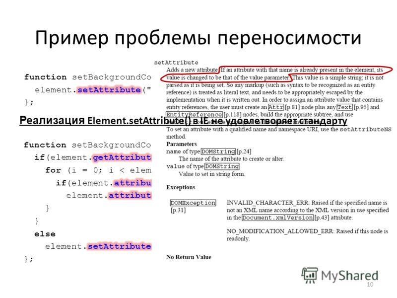 Пример проблемы переносимости 10 Реализация Element.setAttribute() в IE не удовлетворяет стандарту