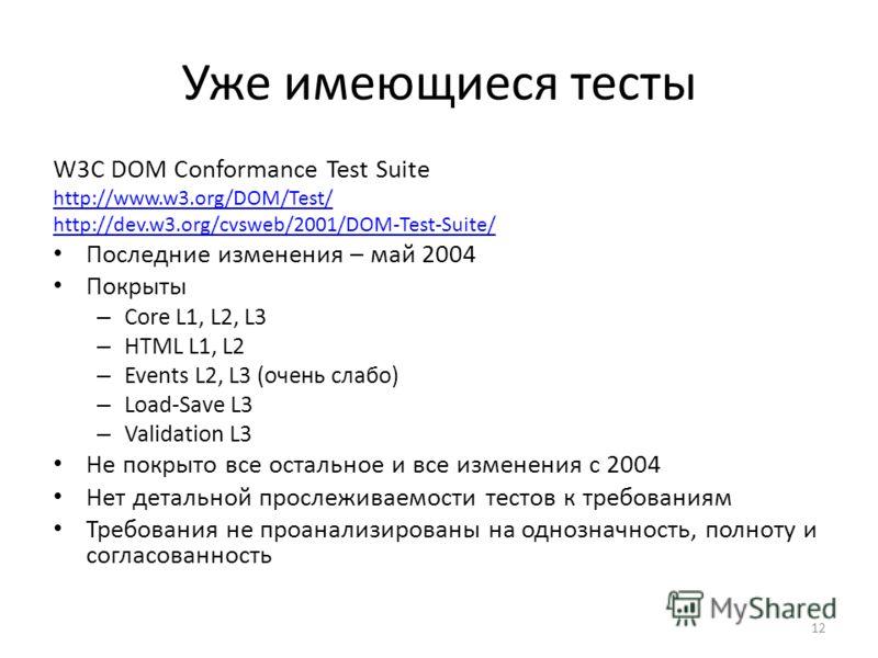 Уже имеющиеся тесты W3C DOM Conformance Test Suite http://www.w3.org/DOM/Test/ http://dev.w3.org/cvsweb/2001/DOM-Test-Suite/ Последние изменения – май 2004 Покрыты – Core L1, L2, L3 – HTML L1, L2 – Events L2, L3 (очень слабо) – Load-Save L3 – Validat
