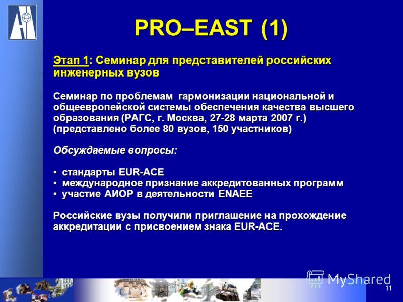 11 Этап 1: Семинар для представителей российских инженерных вузов Семинар по проблемам гармонизации национальной и общеевропейской системы обеспечения качества высшего образования (РАГС, г. Москва, 27-28 марта 2007 г.) (представлено более 80 вузов, 1