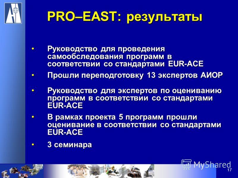 17 Руководство для проведения самообследования программ в соответствии со стандартами EUR-ACEРуководство для проведения самообследования программ в соответствии со стандартами EUR-ACE Прошли переподготовку 13 экспертов АИОРПрошли переподготовку 13 эк