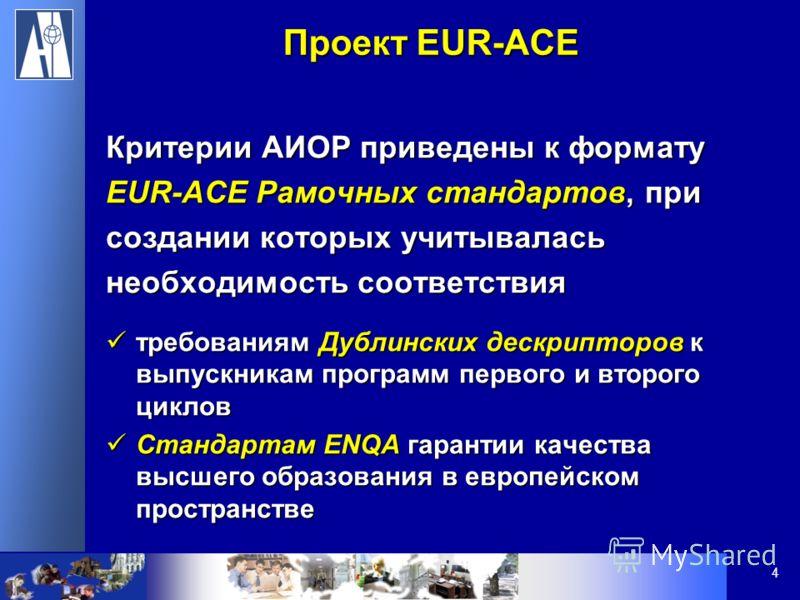4 Проект EUR-ACE Критерии АИОР приведены к формату EUR-ACE Рамочных стандартов, при создании которых учитывалась необходимость соответствия требованиям Дублинских дескрипторов к выпускникам программ первого и второго циклов требованиям Дублинских дес