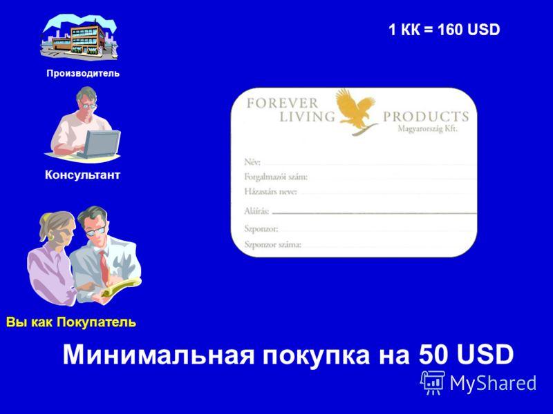 Производитель Консультант Вы как Покупатель Минимальная покупка на 50 USD 1 КК = 160 USD