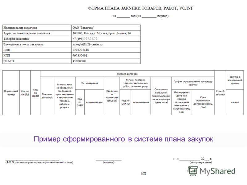 B2B-Center (ОАО «Центр развития экономики») 11 Удобное формирование плана закупок в B2B-Center
