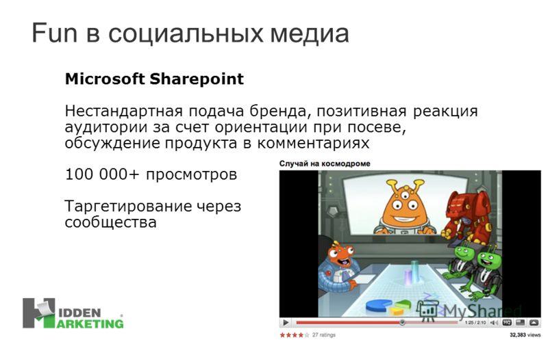 Fun в социальных медиа Microsoft Sharepoint Нестандартная подача бренда, позитивная реакция аудитории за счет ориентации при посеве, обсуждение продукта в комментариях 100 000+ просмотров Таргетирование через сообщества