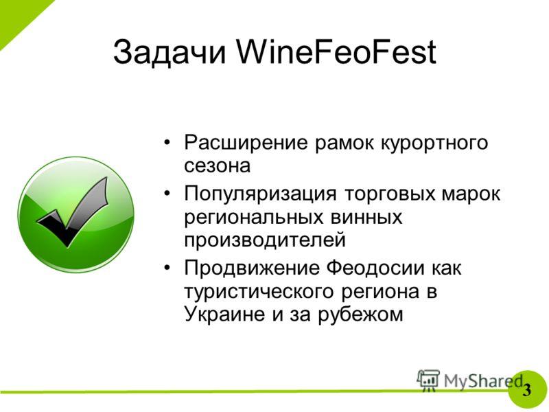 Задачи WineFeoFest Расширение рамок курортного сезона Популяризация торговых марок региональных винных производителей Продвижение Феодосии как туристического региона в Украине и за рубежом 3