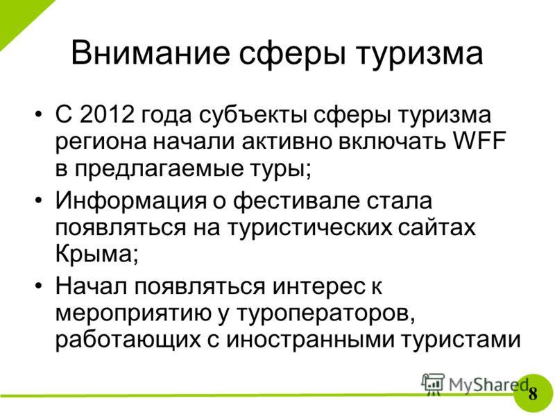 Внимание сферы туризма С 2012 года субъекты сферы туризма региона начали активно включать WFF в предлагаемые туры; Информация о фестивале стала появляться на туристических сайтах Крыма; Начал появляться интерес к мероприятию у туроператоров, работающ