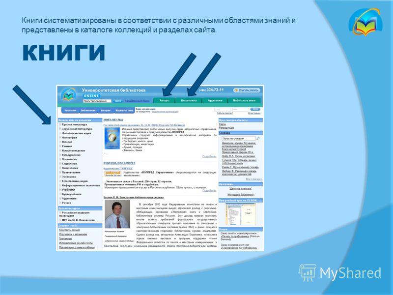 КНИГИ Книги систематизированы в соответствии с различными областями знаний и представлены в каталоге коллекций и разделах сайта.