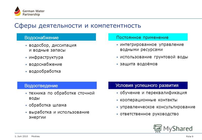 Folie 9 1. Juni 2010 Moskau Сферы деятельности и компетентность Водоснабжение водосбор, диссипация и водные запасы инфраструктура водоснабжение водообработка Водоотведение техника по обработке сточной воды обработка шлама выработка и использование эн