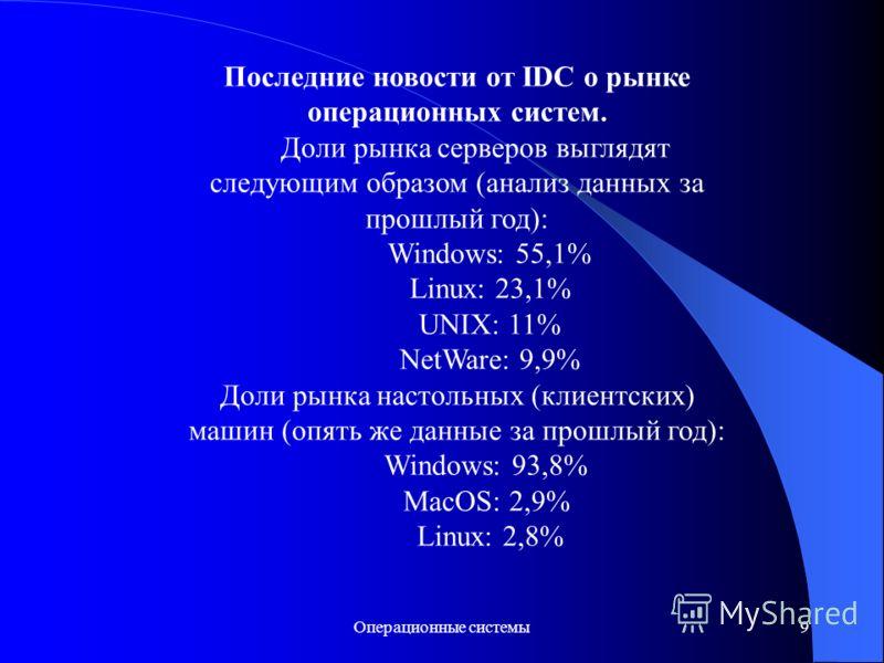 Операционные системы9 Последние новости от IDC о рынке операционных систем. Доли рынка серверов выглядят следующим образом (анализ данных за прошлый год): Windows: 55,1% Linux: 23,1% UNIX: 11% NetWare: 9,9% Доли рынка настольных (клиентских) машин (о