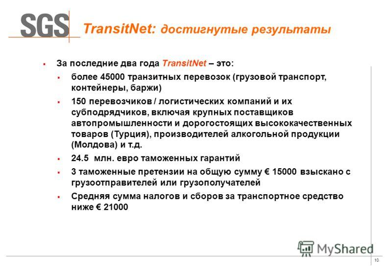 10 За последние два года TransitNet – это: более 45000 транзитных перевозок (грузовой транспорт, контейнеры, баржи) 150 перевозчиков / логистических компаний и их субподрядчиков, включая крупных поставщиков автопромышленности и дорогостоящих высокока
