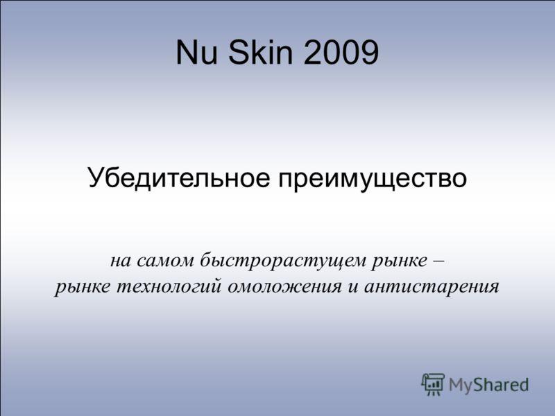 Nu Skin 2009 Убедительное преимущество на самом быстрорастущем рынке – рынке технологий омоложения и антистарения