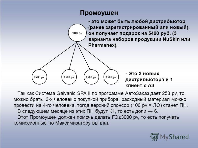 100 pv 200 pv - это может быть любой дистрибьютор (ранее зарегистрированный или новый), он получает подарок на 5400 руб. (3 варианта наборов продукции NuSkin или Pharmanex). - Это 3 новых дистрибьютора и 1 клиент с АЗ Промоушен Так как Система Galvan