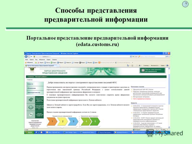 Способы представления предварительной информации Портальное представление предварительной информации (edata.customs.ru) 7