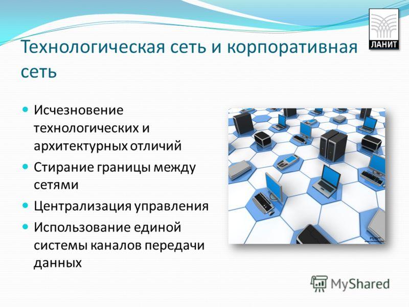 Технологическая сеть и корпоративная сеть Исчезновение технологических и архитектурных отличий Стирание границы между сетями Централизация управления Использование единой системы каналов передачи данных