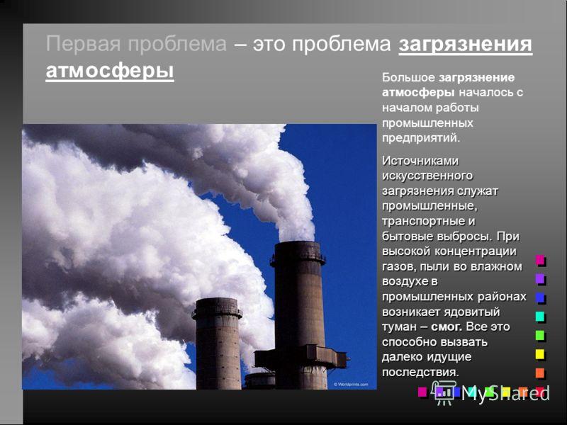 Первая проблема – это проблема загрязнения атмосферы Большое загрязнение атмосферы началось с началом работы промышленных предприятий. Источниками искусственного загрязнения служат промышленные, транспортные и бытовые выбросы. При высокой концентраци