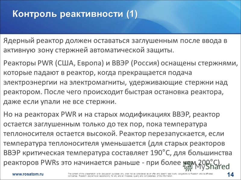www.rosatom.ru Контроль реактивности (1) 14 The content of this presentation is for discussion purposes only, shall not be considered as an offer and doesnt lead to any obligations to Rosatom and its affiliated companies. Rosatom disclaims all respon