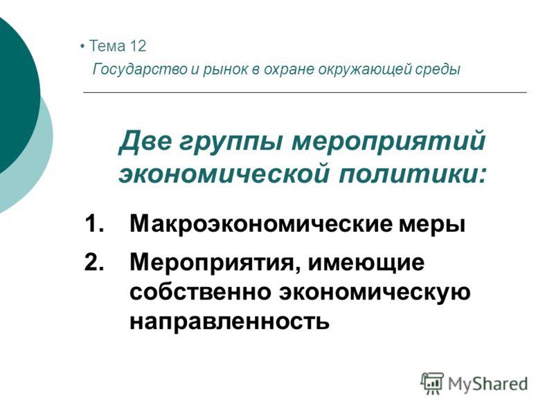 Тема 12 Государство и рынок в охране окружающей среды Две группы мероприятий экономической политики: 1.Макроэкономические меры 2.Мероприятия, имеющие собственно экономическую направленность