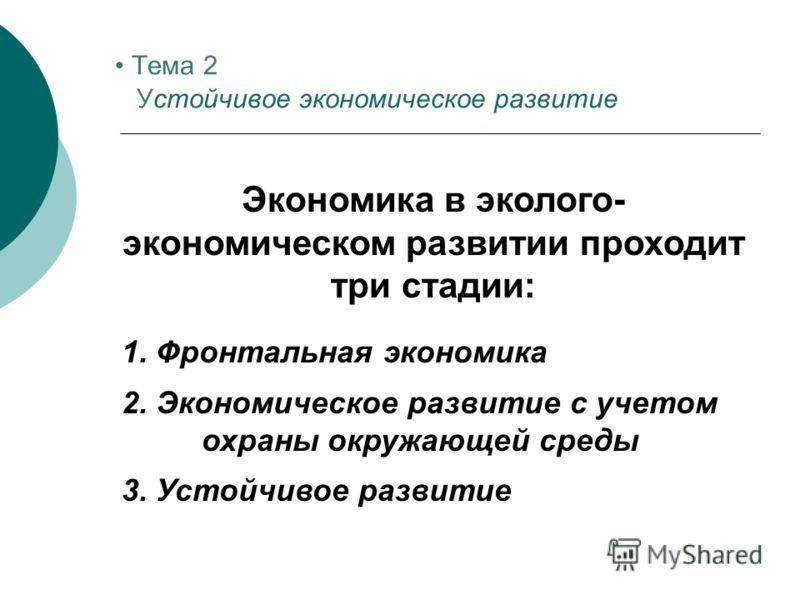 Экономика в эколого- экономическом развитии проходит три стадии: 1. Фронтальная экономика 2. Экономическое развитие с учетом охраны окружающей среды 3. Устойчивое развитие Тема 2 Устойчивое экономическое развитие