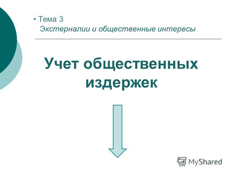 Учет общественных издержек Тема 3 Экстерналии и общественные интересы