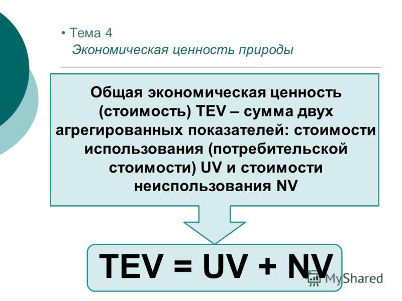 Общая экономическая ценность (стоимость) TEV – сумма двух агрегированных показателей: стоимости использования (потребительской стоимости) UV и стоимости неиспользования NV TEV = UV + NV Тема 4 Экономическая ценность природы
