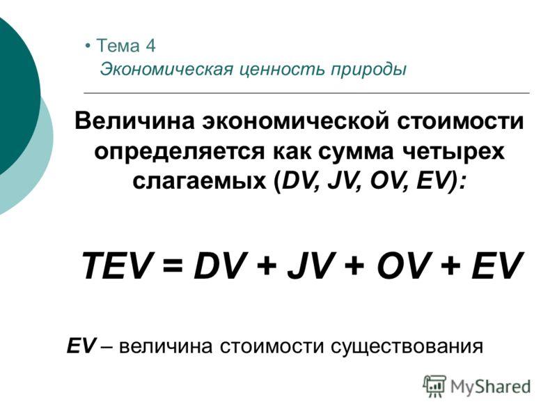 Величина экономической стоимости определяется как сумма четырех слагаемых (DV, JV, OV, EV): TEV = DV + JV + OV + EV ЕV – величина стоимости существования Тема 4 Экономическая ценность природы