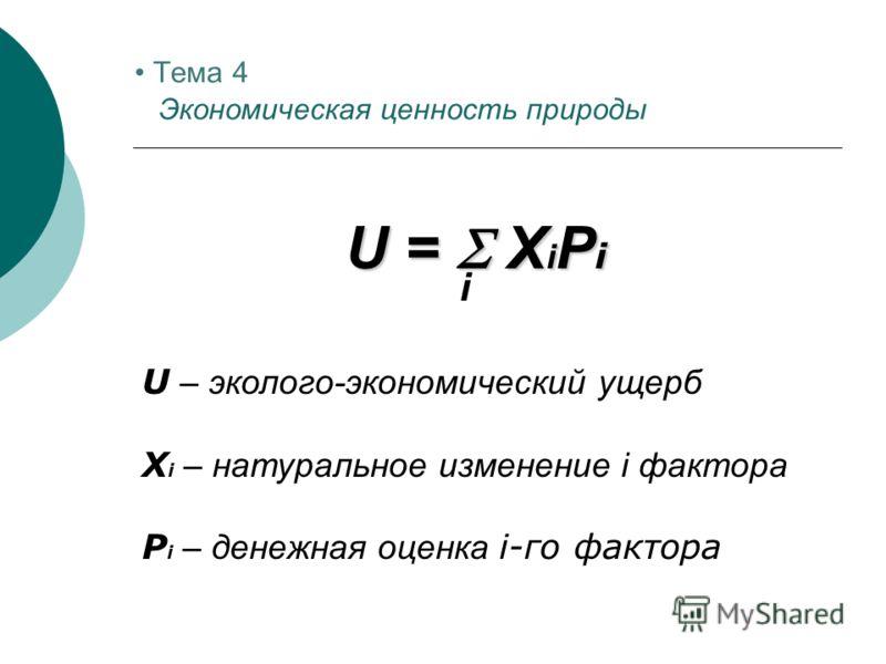 U = X i P i U – эколого-экономический ущерб X i – натуральное изменение i фактора P i – денежная оценка i-го фактора i Тема 4 Экономическая ценность природы