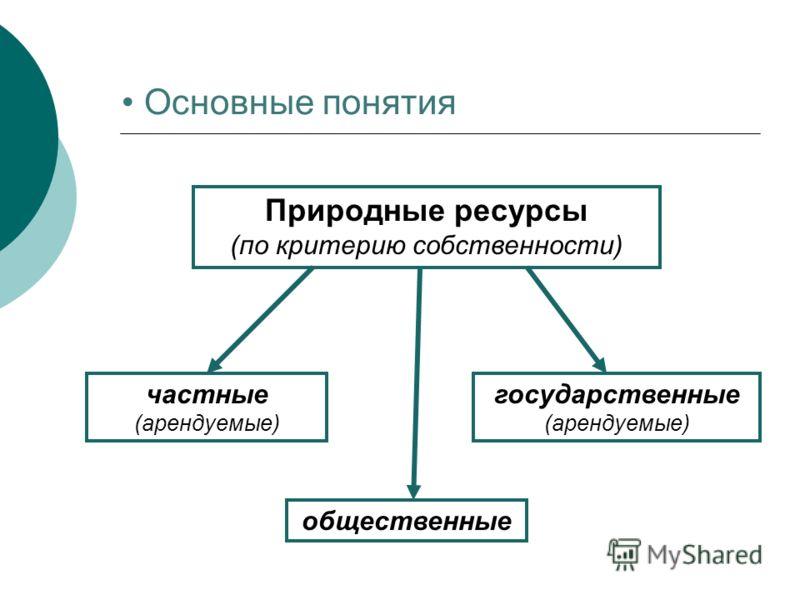 Основные понятия Природные ресурсы (по критерию собственности) частные (арендуемые) государственные (арендуемые) общественные