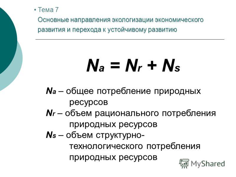 N a = N r + N s N a – общее потребление природных ресурсов N r – объем рационального потребления природных ресурсов N s – объем структурно- технологического потребления природных ресурсов Основные направления экологизации экономического развития и пе
