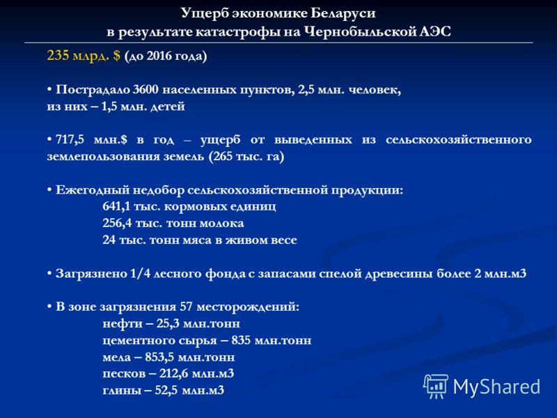 Ущерб экономике Беларуси в результате катастрофы на Чернобыльской АЭС 235 млрд. $ (до 2016 года) Пострадало 3600 населенных пунктов, 2,5 млн. человек, из них – 1,5 млн. детей 717,5 млн.$ в год – ущерб от выведенных из сельскохозяйственного землепольз